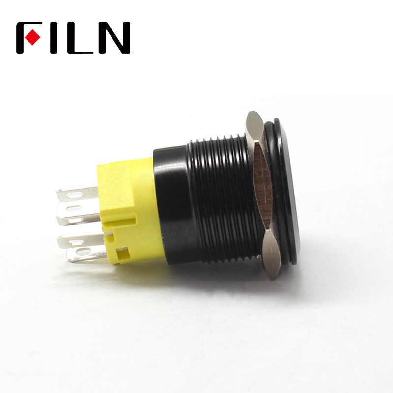 19mm 12 v LED noir shell métal bouton poussoir interrupteur tableau de bord personnalisé symbole d'alimentation verrouillage momentané sur off voiture course interrupteur
