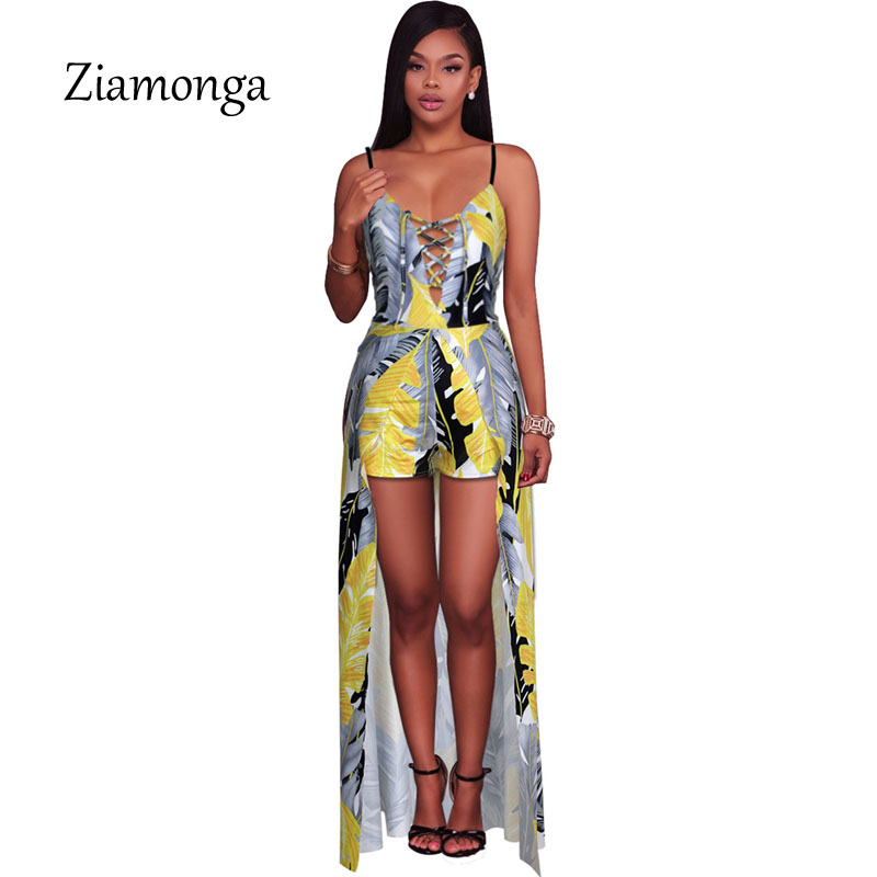 Ziamonga Fashion Jumpsuit Women Lace Up Design Maxi Overlay Rompers Women Jumpsuit Sexy High Split Floral Printed Playsuits