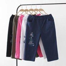33592698ccc6c E21 Summer Casual Capri Pants 4X Plus Size Women Clothing Fashion Loose  Stretch Cotton Linen Embroidery