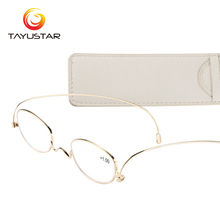 Paper Reading Glasses Women Vintage Frame Ultra-thin Eyeglasses Pocket Men With Case