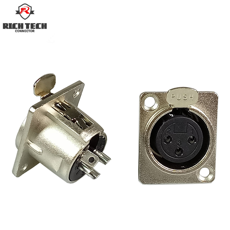 3Pins XLR Connector Female Jack Socket Panel Mounted Type Chassis Square Shape Metal Housing