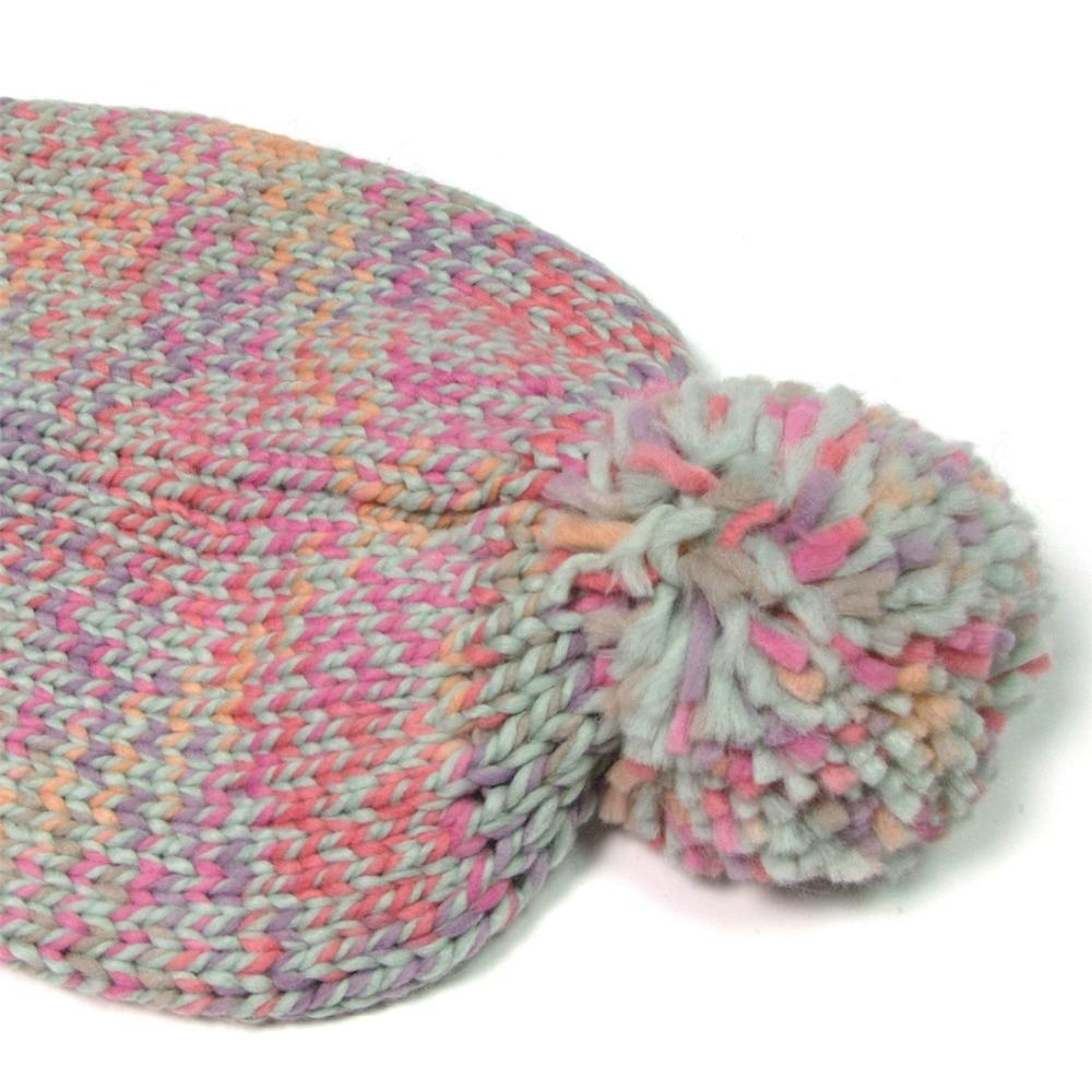 Pleteni zimski klobuk za ženske Pompom Ball Cute Baby Beauns Island - Oblačilni dodatki - Fotografija 4