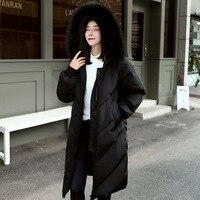 Newbang 5xl冬ダウンコートウインドブレーカーパーカーコートリアルラクーン毛皮の襟女