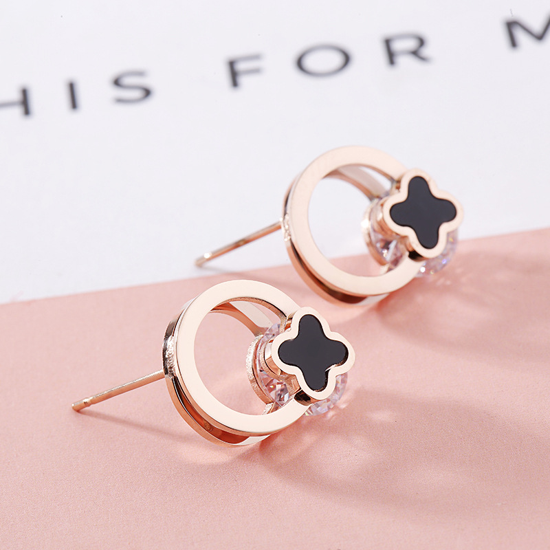 2018 Clover Round Stud Earrings for Women Female Fashion Jewelry Korean Kpop Stainless S ...