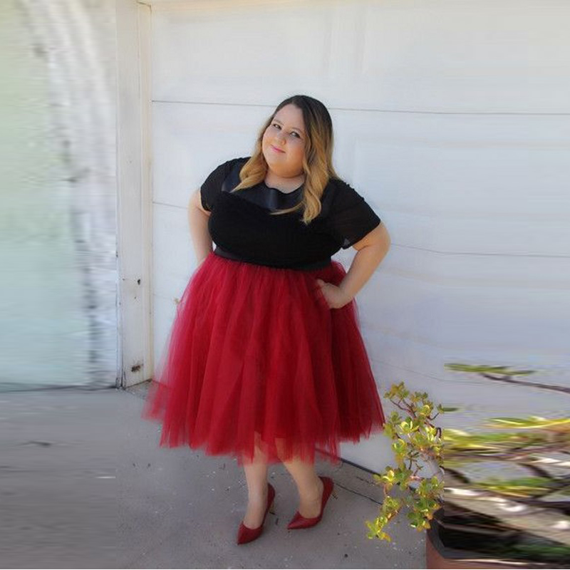 Fashion Plus Size Skirts Women Custom Made A Line Knee Length Red Tutu Skirt Casual Style Adults Tulle In From Womens Clothing Accessories