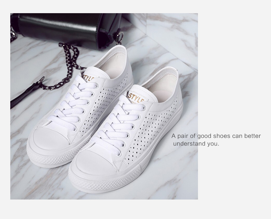 Donna-in 2019 New Women Flats Sneakers Genuine Leather Shoes Lace-up Cut-outs Flat Casual Women Shoes Hollow Summer Black White (13)
