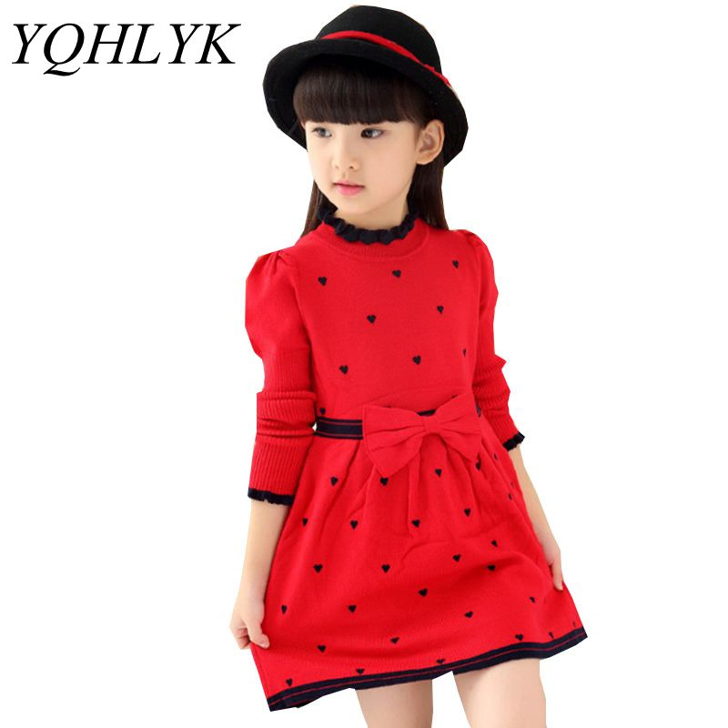 New Fashion Autumn Winter Girl Dress 2018 Children Long-Sleeve Round Neck Knit Princess Dress Sweet Casual Kids Clothes W163 цена