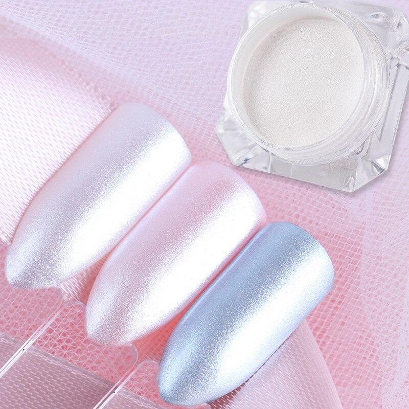 NASCIDO BONITA 1 Caixa de Diamante Pérola Sereia Pó 1.5g Brilhante Branco Nail Art Glitter Pó Poeira Decoração de Unhas DIY pigmento