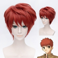 Fate/stay Night Emiya Shirou Red Cosplay Wigs for Man Boys Short Straight Hair Wig Heat Resistant Synthetic Hair Anime Party Re