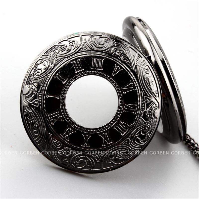 Retro zwarte steampunk Romeinse cijfers zakhorloge heren ketting - Zakhorloge - Foto 4