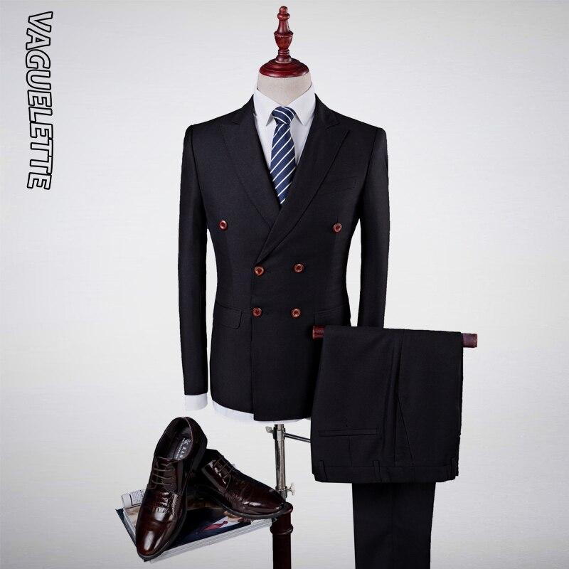 VAGUELETTE Royal Blue Double Breasted Suit Men 3 Piece Vest Elegant Black Men Tuxedo Suit Slim Fit Formal Wedding Stage Wear in Suits from Men 39 s Clothing