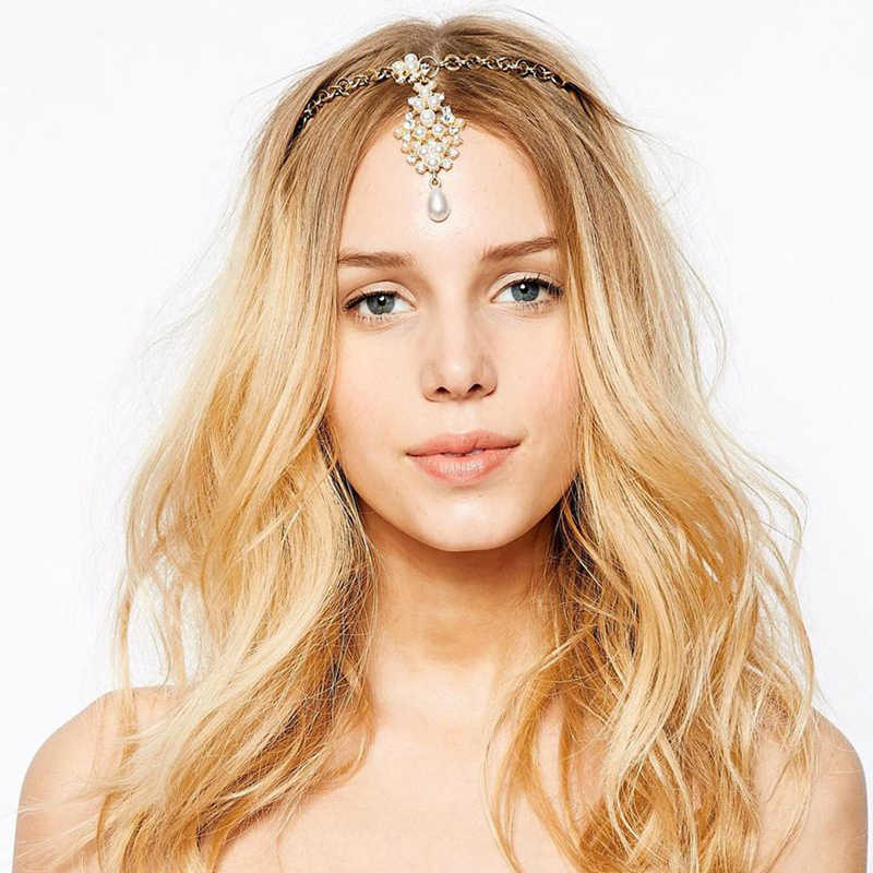 Strass nupcial Cadena de pelo perla frente tocado cristal boda india cabeza joyería para niñas mujeres accesorios para el cabello