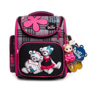 503d5c20b812 2019 Delune 1-3 класс детский ортопедический школьный портфель для девочек  модный 3D школьный рюкзак