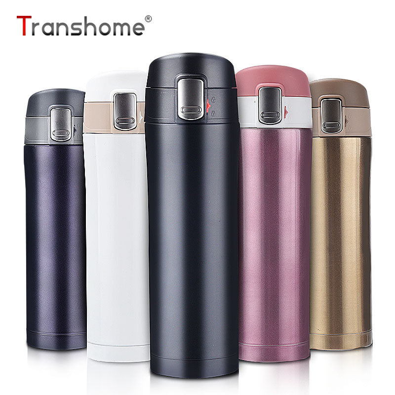 Transhome Thermos Travel Mug 450ml Tea Coffee Mug Water Vacuum Cup Thermos Bottle Stainless Steel Thermocup