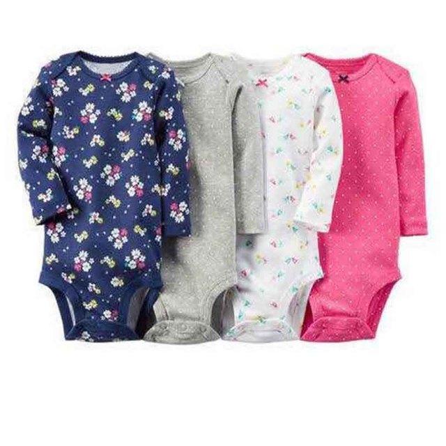 Bodysuit Macacão 4 pcs Pacote conjunto Bebê crianças Meninos e Meninas Do Bebê conjunto de roupas Bodysuit conjunto para Bebes crianças 2017 notícias Algodão macio