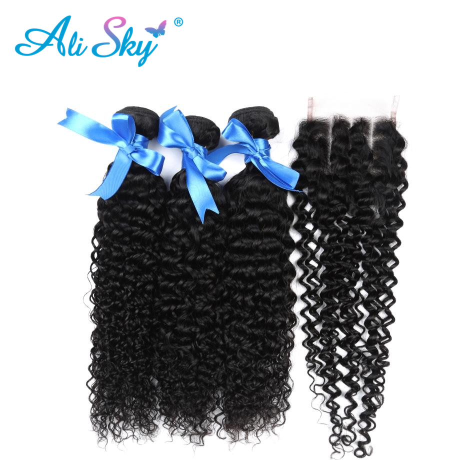 3 Bundles Peruvian Afro Kinky Curly with Closure Pre Plucked With Baby Hair Bouncy Curl no