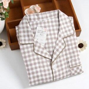 Image 5 - Mens Short sleeved Summer Cotton Yarn Nightwear Plaid Turn down Collar Men Pajama Sets Plus Size Pijama Pajamas Sleeping Suits