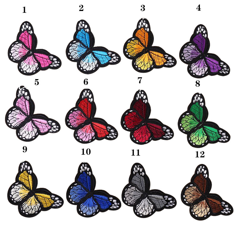 Beautiful Butterfly Embroidery 12 Colors Embroidery Sticker Patch Decorative Paste Kinds Of Clothing, Shoes And Hats Decoration