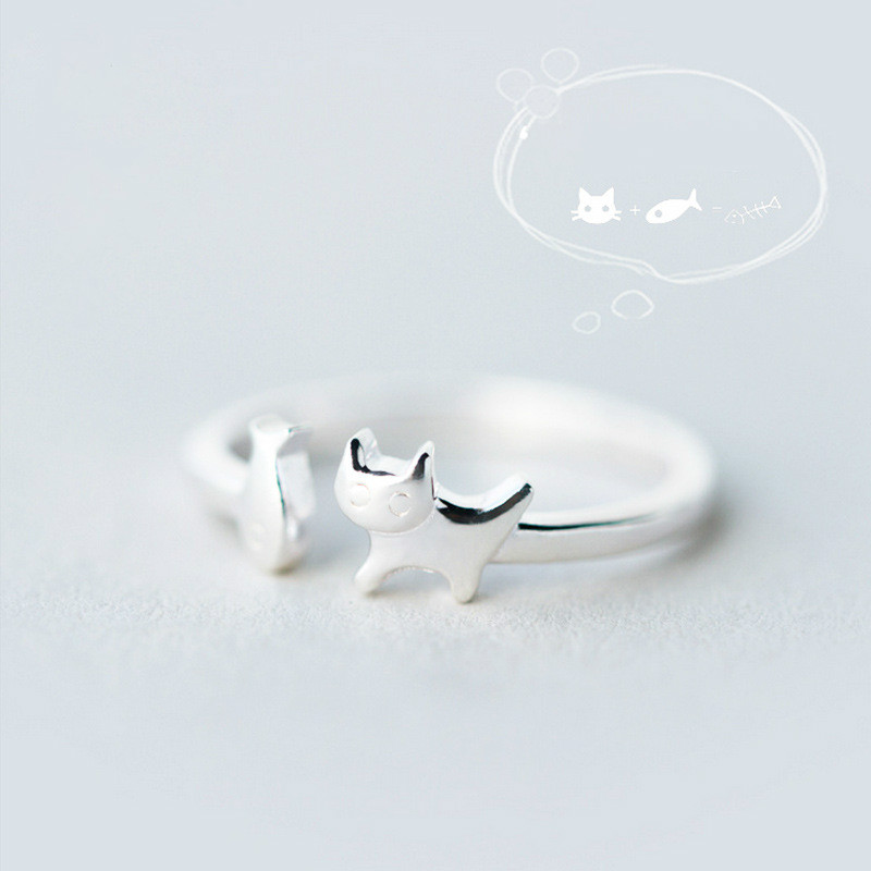 Silver Color Cat Ring Women 2018 Fashion Jewelry Ladies Adjustable Party Rings Delicate Fish Tail Ring Finger Rings