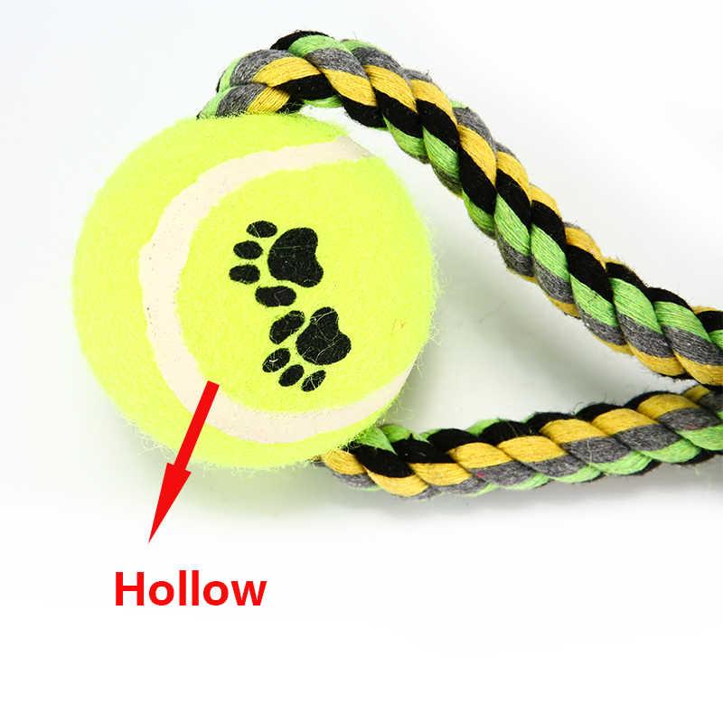 Pet теннисный мяч для собак Игрушки-Жвачки питомца Жевательная желаний для щенка средних собак забавные Плетеный узел для игрушки для домашних животных Прямая поставка от производителя чистка зубов XF0003