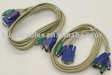 Free Shipping+5pcs/lot!!New KVM switch cable/KVM Cable Male to Male 1.5M Beige+Wholesales