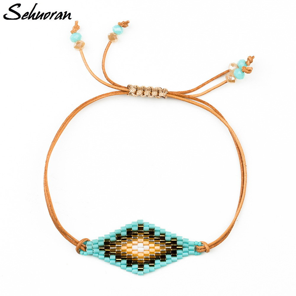 Sehuoran Bohemian Leather Bracelets & Bangles For Women Of Cuff Bracelets  With Japan Beads Loom Bands