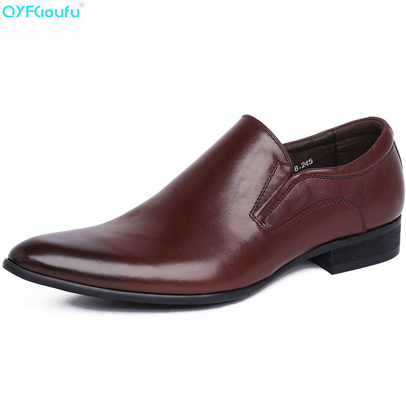 QYFCIOUFU Italian Slip On Genuine Leather Pointed Toe Men Dress Shoes Business Wedding Oxfords Formal Shoes For Male 2019 SpringQYFCIOUFU Italian Slip On Genuine Leather Pointed Toe Men Dress Shoes Business Wedding Oxfords Formal Shoes For Male 2019 Spring