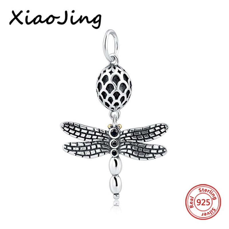 925 Sterling Silver Pendant dragonfly Charms Beads Fit Original European Bracelets Charm D