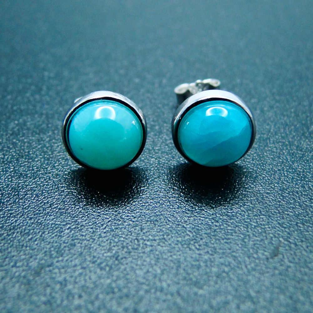 f1666f1e0 Detail Feedback Questions about Real Larimar Woman Earrings 5MM Natural  Larimar Gemstone Stud Earrings in Solid 925 Sterling Silver Fine Jewelry  Earrings on ...