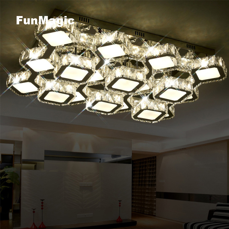 Post-modern Rectangle Discoloration Diamond LED Crystal Ceiling Light Remote Control Living Room Lighting Surface Mount LED LampPost-modern Rectangle Discoloration Diamond LED Crystal Ceiling Light Remote Control Living Room Lighting Surface Mount LED Lamp