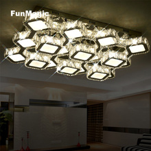 Post-modern Rectangle Discoloration Diamond LED Crystal Ceiling Light Remote Control Living Room Lighting Surface Mount Lamp