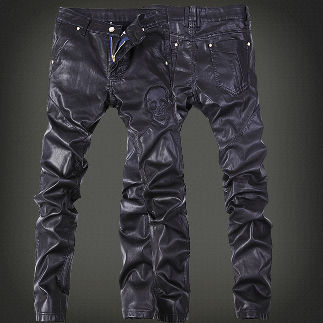 NEW Large Size PU Leather Pantalon Homme 36 34 Brand Clothing Leather Pants Hip Hop   Motorc Pants 2016 New Arrival Mens Joggers