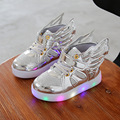 2017 luminous LED flash cartoon wings children's shoes sneakers brand fashion for boys and girls sports shoes led light kids lig
