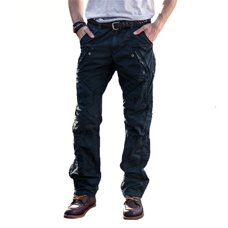 MORUANCLE Mens Casual Cargo Pants Military Style Tactical Trousers For Man Wortwear Pants With Multi Pockets Zipper 100% Cotton