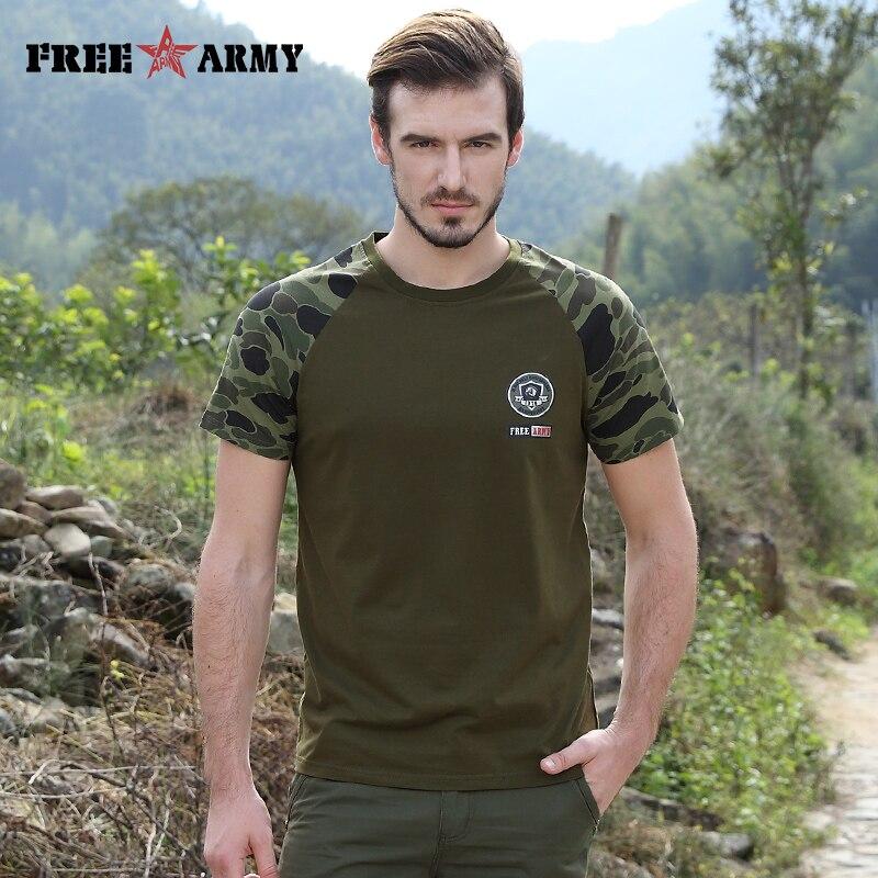 무료 육군 T 셔츠 남성 최고 품질 육군 녹색 캐주얼 - 남성 의류
