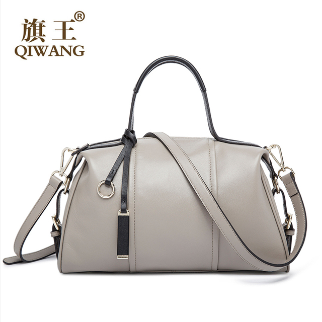 Qi High End Fashion Gray Leather Handbag Genuine Boston Bag Brand Designer 3