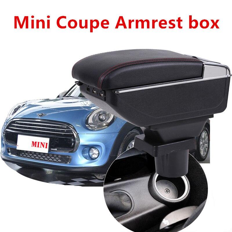 Maior espaço + luxo + usb caixa de conteúdo armazenamento central caixa de apoio braço do carro com suporte de copo usb apto para mini coupe cooper