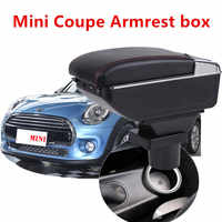 Plus grand espace + luxe + USB boîte d'accoudoir de voiture boîte de contenu de stockage central avec support de verre USB adapté pour MINI COUPE COOPER