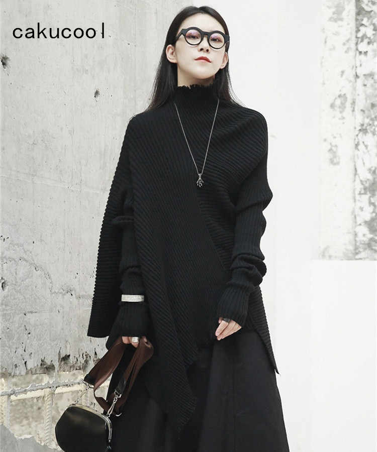 Cakucool New Women Autumn Turtleneck Sweaters Batwing Sleeved Jumper Casual Loose Asymmetric Designer Holes Sweater Femme Black