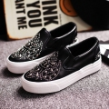 Free shipping 2016 spring new fashion women shoes rivet casual solid color height increasing PU loafers women fashion