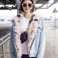 Brand Famous New 2017 Autumn Winter Lamb Fur Lined Denim Jacket Coats Plus Size Warm