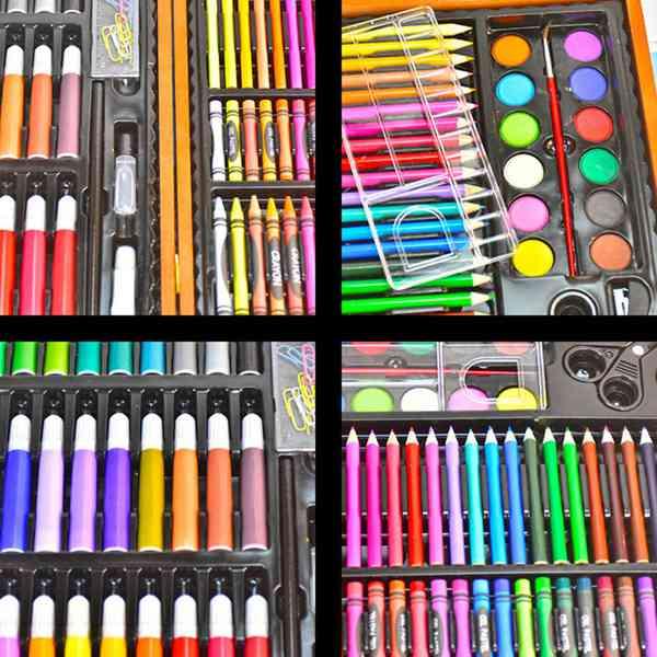 Image 3 - 150 個魔法 1 ボックス水彩画ペンリードクレヨンワックススティック木製ボックスアートセット絵画学習ツール子供のギフトマーカーペン   -