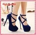 Venta caliente Mujeres Bombas de la Plataforma Tacones gruesos 14 cm Correa Cruzada Zapatos de las mujeres de Moda de Alta Calidad zapatos Atractivos de los Altos Talones azul Y481
