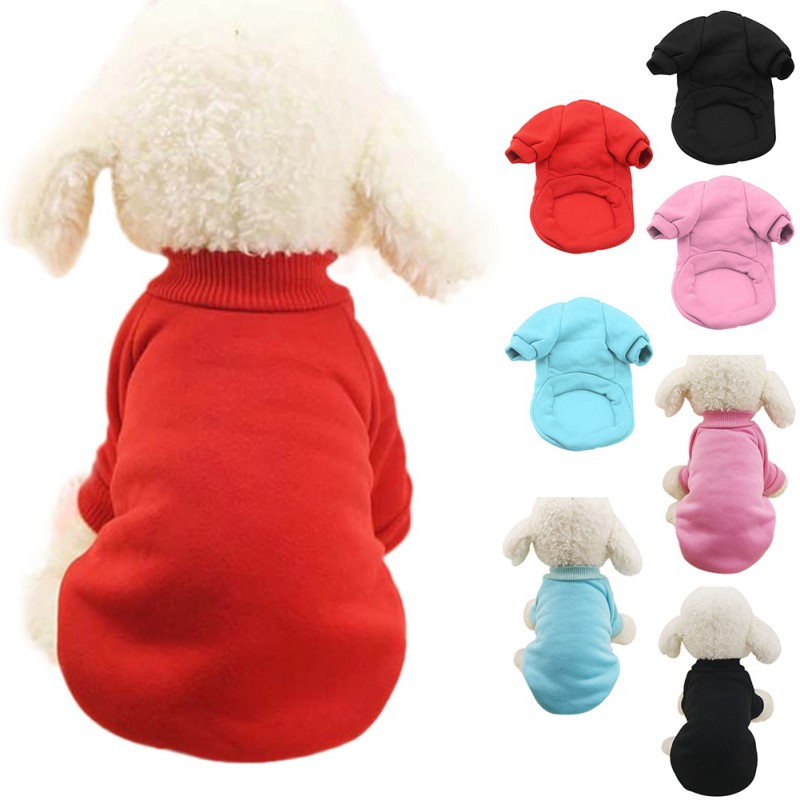 4 Colors Solid Winter Pet Dog Clothes For Dog Small Dogs Coat Soft Warm Puppy Sweatshirt For Yorkies Chihuahua Teddy Bulldog