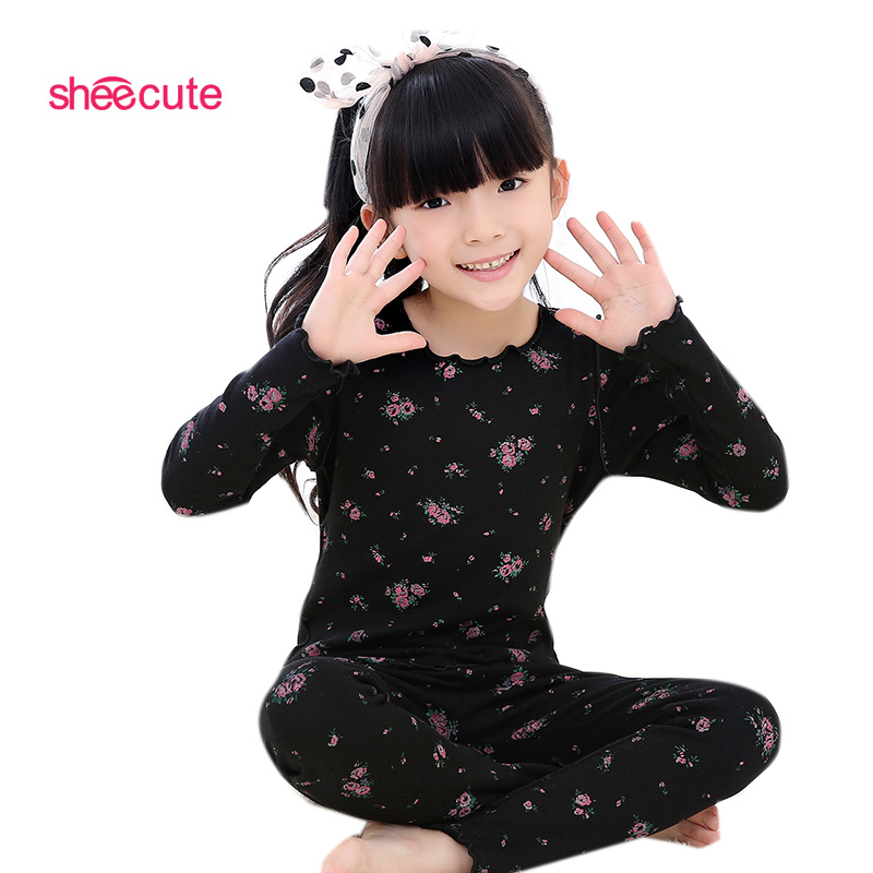 New Children girls kids Clothing Sets autumn winter  cotton floral suits baby sleepwear long sleeve cartoon pajamas