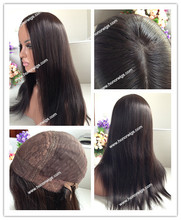 big layer all hair same length Stock glueless chinese hair 18 inches lace front  silk top 4x4inch hair wigs jewish wigs in stock