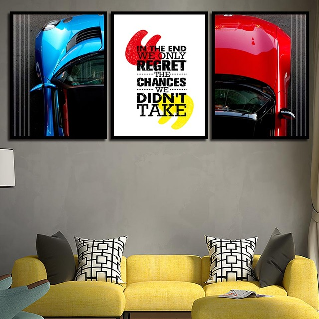 Artwork Nursery Hd Prints Nordic Posters Blue And Red Car Wall Canvas Painting Picture Kids Bedroom