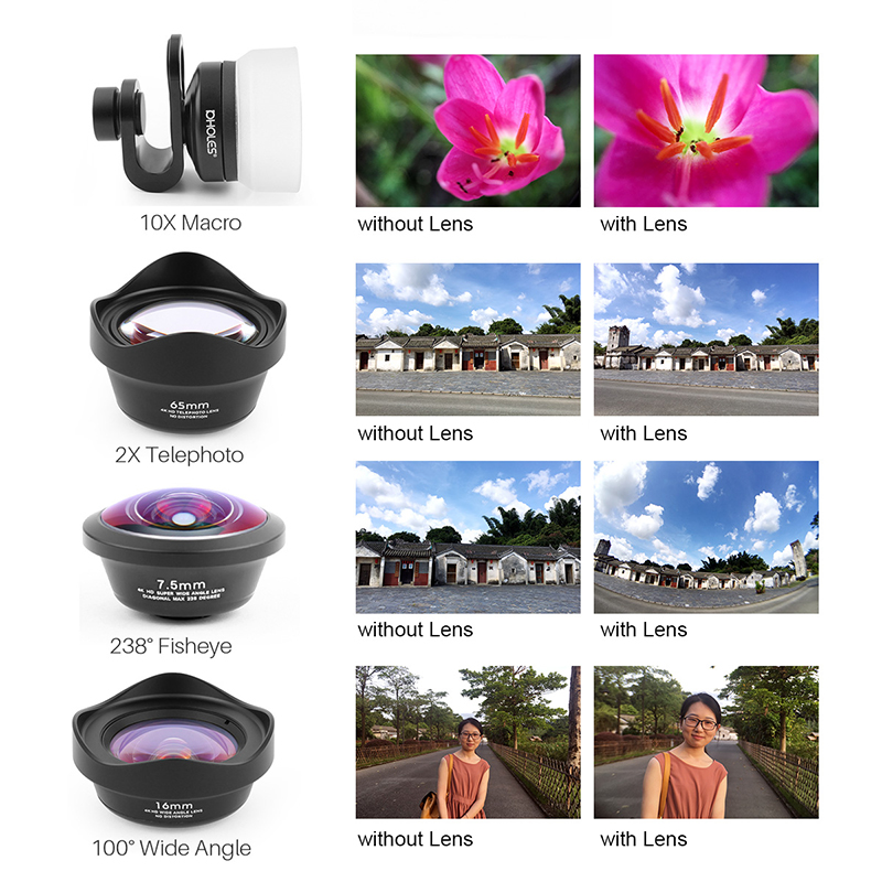Mobile Phone Camera Lens Universal 4 in 1 Fish Eye Photo Lens for iPhone 6 7 Samsung Galaxy HTC Xiaomi Cell Phone Camera Lens - 6