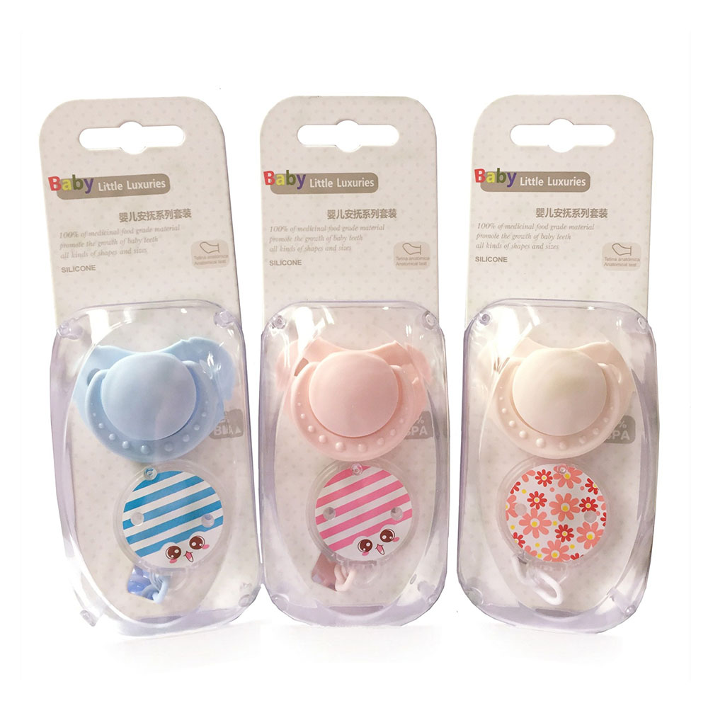 2pc/pack One Baby Silicone Bpa Free Cute Pacifiers With One Pacifier Leash Loaded Bebe Pacifiers Nipples Teether