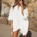 Plunge-front Caftán Pareo Beach Encubrimientos Pareo Rayón Túnica Blanca De Plage Más El Tamaño de trajes de Baño traje de Baño Túnica Encubrimiento # Q2